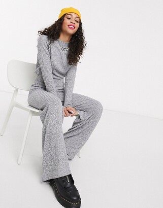 Noisy May knitted wide leg trousers co-ord in grey