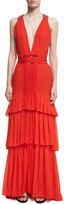 Roberto Cavalli Tiered Silk V-Neck Gown with Bar Details