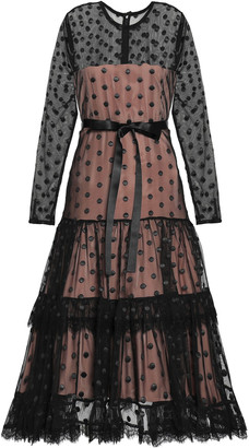 Alexis Lace-trimmed Embroidered Tulle Dress