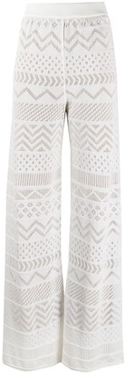 M Missoni Embroidered Palazzo Trousers