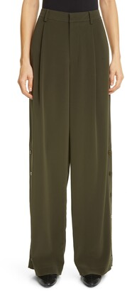 Co Button Side Pleated Wide Leg Trousers