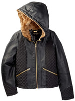Jessica Simpson Faux Leather Jacket with Faux Fur Lined Hood (Big Girls)