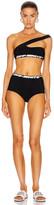 Off-White Shoulder Off Bikini Set in Black | FWRD
