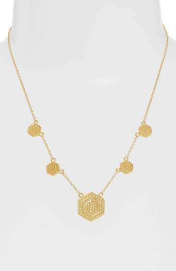 Anna Beck Gold Plate Hexagon Station Collar Necklace