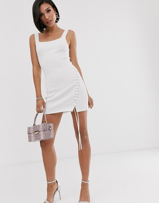 ASOS DESIGN square neck structured knit dress with eyelet detail