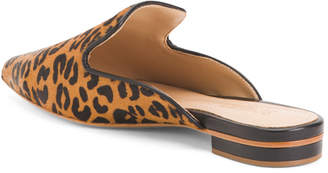 Made In Brazil Leopard Print Haircalf Mules
