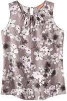 Joe Fresh Women's Floral Sleeveless Top, Light Olive (Size L)