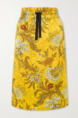Dries Van Noten Floral-print Silk-jacquard Skirt - Yellow