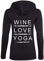 Yoga Clothing For You Ladies WINE LOVE YOGA Hoodie Tee, (mid-back print)