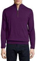 Peter Millar Quarter-Zip Wool Sweater, Purple