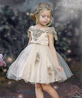 Mia Belle Girls Girls' Special Occasion Dresses Champagne - Champagne Cascading Lace & Tulle Off-Shoulder Dress - Toddler & Girls