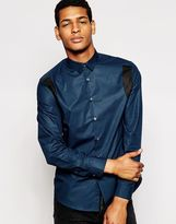 Ps By Paul Smith Shirt With Contrast Shoulders Slim Fit - Blue