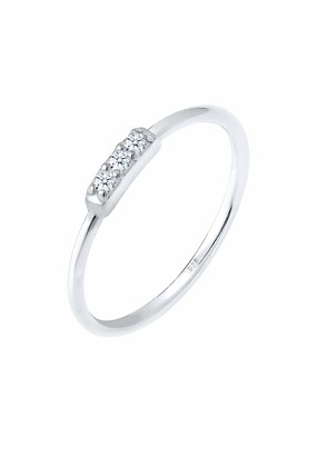 Diamore Women's 925 Sterling Silver Stacked Ring P 1/2 0607152117_56