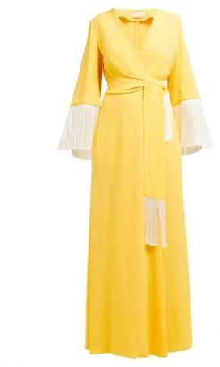 Sara Battaglia V-neck Fringed-sleeve Wrap Dress - Womens - Yellow Multi