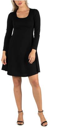 24seven Comfort Apparel Women Simple Long Sleeve Knee Length Flared Dress