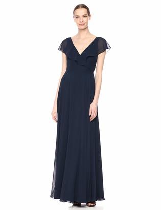 Jenny Yoo Women's Faye Flutter Sleeve V Neck Long Chiffon Wrap Dress