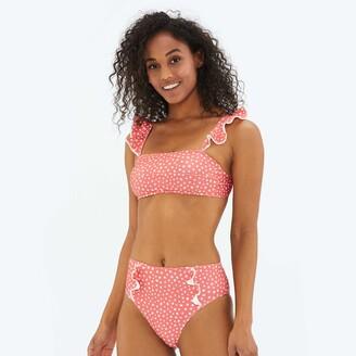 Summersalt The Ruffle Oasis Bikini Top - On the Dot in Coral