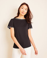 Ann Taylor Petite Scalloped Refined Tee