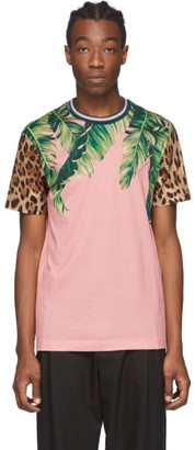 Dolce & Gabbana Pink Floral Leopard T-Shirt