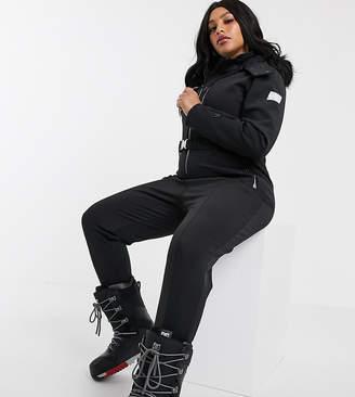 Asos 4505 4505 Curve ski fitted belted ski suit with fur hood-Black