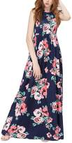 Greenis Summer Women Dress Maxi Floral Printed Polyester Sleeveless