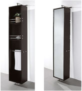 WYNDHAM COLLECTION Wyndham Collection April Linen Tower & 360 DegreeRotating Floor Cabinet with Full-Length Mirror