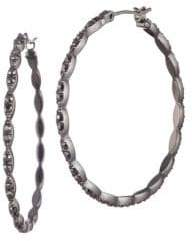 Givenchy Gunmetal-Tone Pave Hoop Earrings