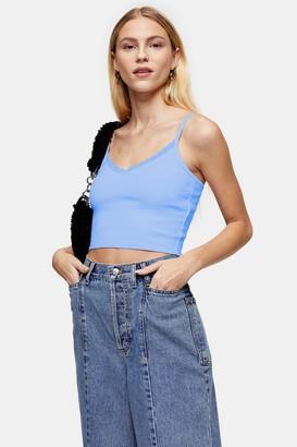 Topshop Womens Petite Blue Pretty Lace Trim Camisole - Blue