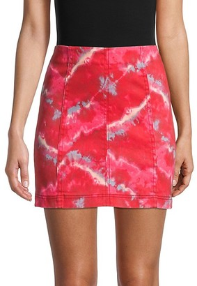 Free People Modern Femme Tie-Dye Denim Skirt
