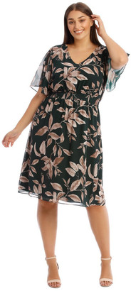 Basque Shirred Waisted Printed Dress