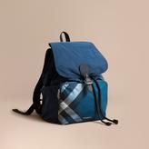 Burberry Check Detail Technical Packaway Rucksack, Blue