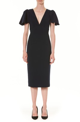 Carolina Herrera Ruffle Sleeve Sheath Dress