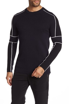 Karl Lagerfeld Paris Ribbed Contrast Pipe Pullover
