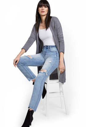 New York & Co. High-Waisted Distressed Boyfriend Ankle Jeans