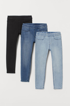H&M 3-pack Denim Leggings - Black