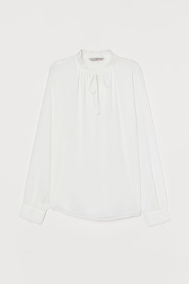 H&M Pleated-collar Blouse - White