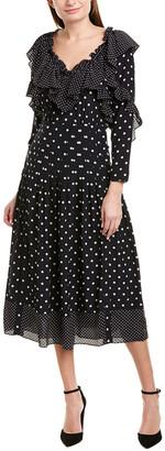 Rebecca Taylor Dot Ruffle Silk Midi Dress