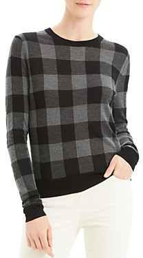 Theory Silk, Cashmere & Wool Buffalo Plaid Crewneck Sweater