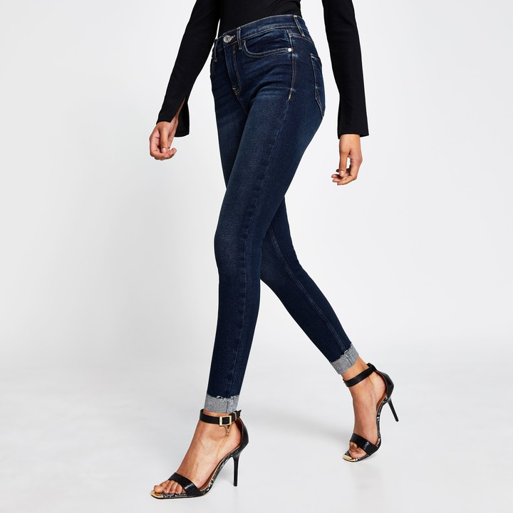 Thumbnail for your product : River Island Womens Dark Blue mid rise skinny jeans