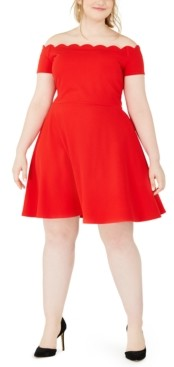 B. Darlin Trendy Plus Size Scalloped Off-The-Shoulder Dress