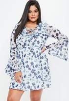Missguided Plus Size Blue Floral Print Lace Up Dress