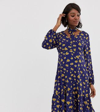 Glamorous Bloom midi dress with neck tie in sunflower print-Navy