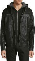 Buffalo David Bitton Men's Jackey Vegan Hooded Moto Jacket - Black, Size x-large
