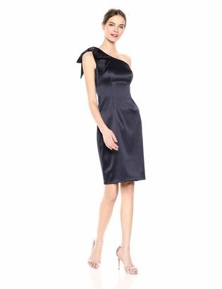 Brinker & Eliza Women's One Shoulder Sleeveless Sheath Dress with Bow
