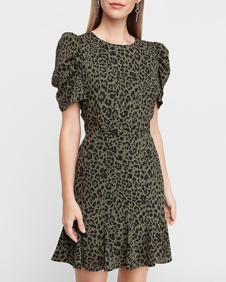 Express Leopard Print Puff Sleeve Fit And Flare Dress
