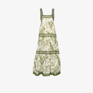 Zimmermann Empire palm print cotton maxi dress