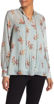 Pleione Pleated Tie Front Long Sleeve Blouse