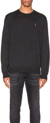 Polo Ralph Lauren Merino Wool Long Sleeve Sweater in Dark Granite Heather | FWRD