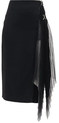 David Koma Side-pleated Tulle-panelled Crepe Skirt - Black