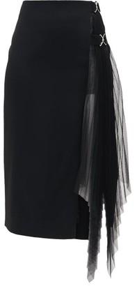 David Koma Side-pleated Tulle-panelled Crepe Skirt - Womens - Black